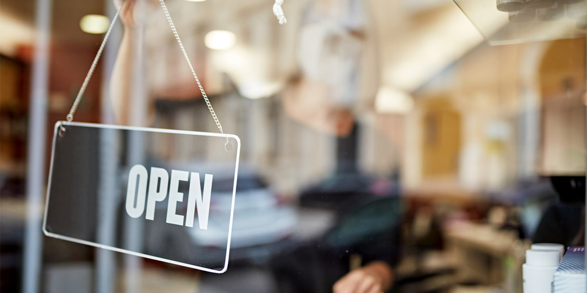 Open Sign in Small Business Window