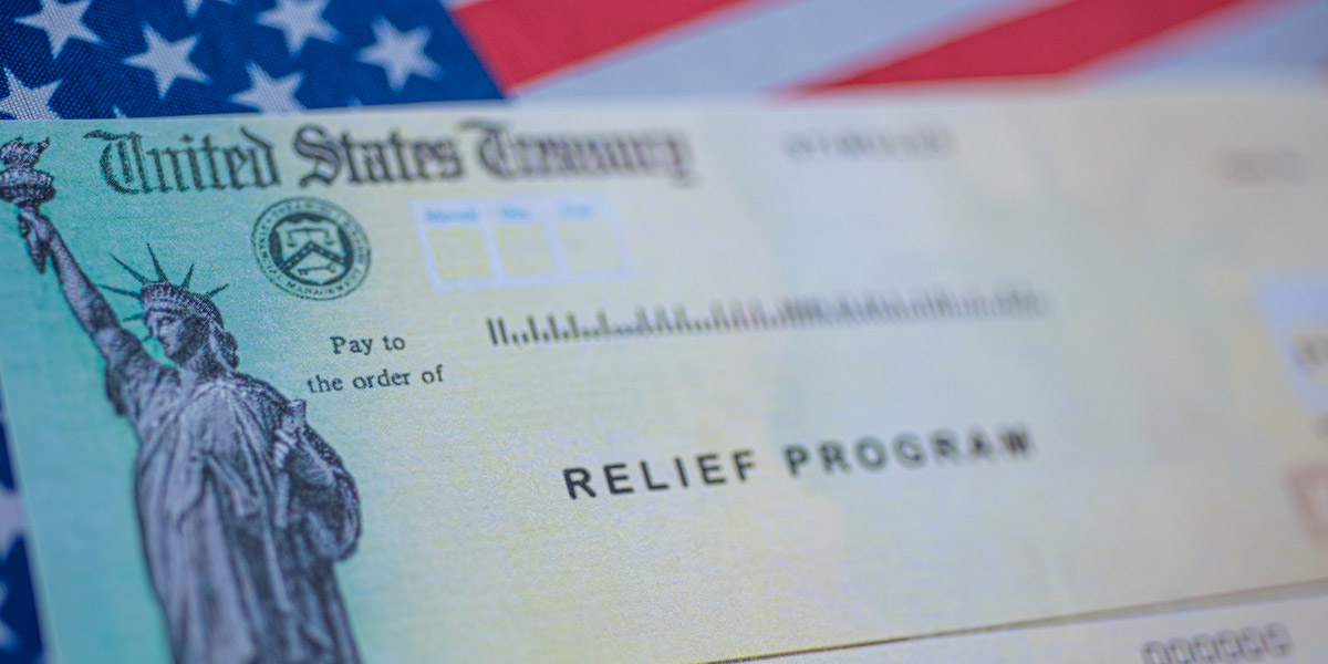 American Flag with Stimulus Check