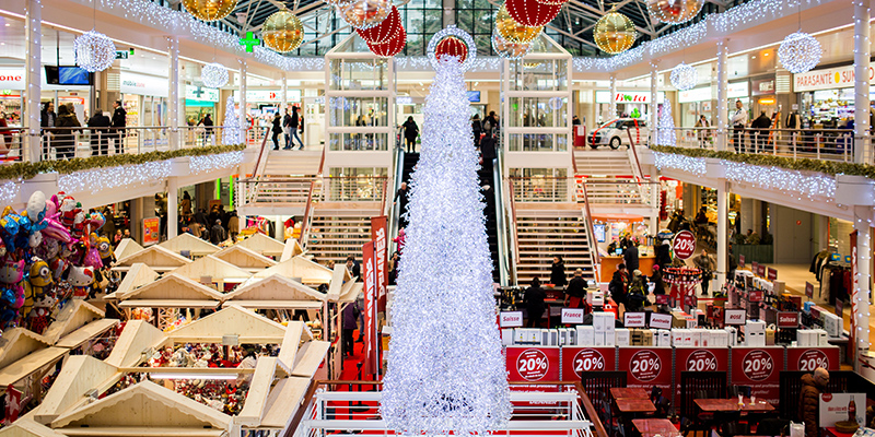 Image of shopping mall during the holidays