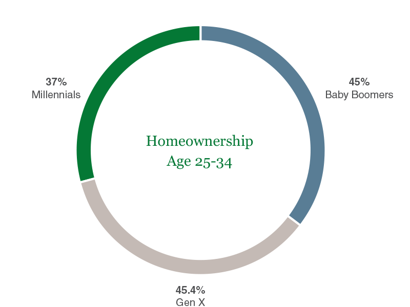 pie chart showing percent of millenials that own a home