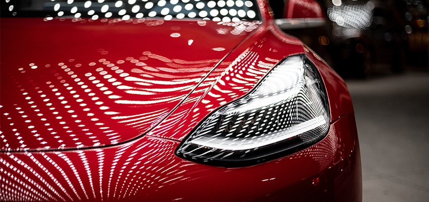 close up of red car